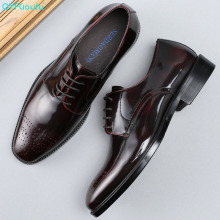 QYFCIOUFU Patent Leather Men Oxford Shoes Luxury Brand Mens Formal Genuine Dress For Business Office