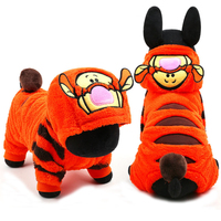 2015 New Arrival Fleece Cute Tiger Cosplay Small Dog Clothes Jumpsuit Winter Puppy Hoodie Coat Purple