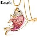 2016 New Brand Fish Crystal Goldfish Enamel Rhinestone Long Necklaces & Pendants For Women Charm Party Gift X605