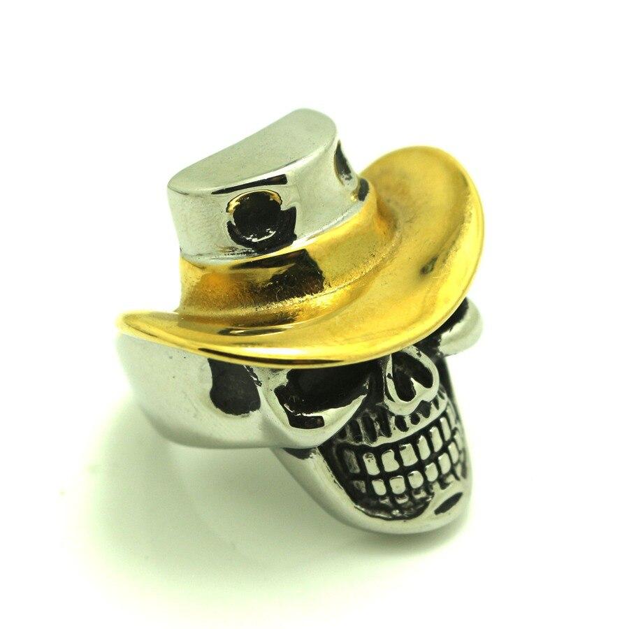 Golden Silver Punk Gothic Cow Boy Skull Ring