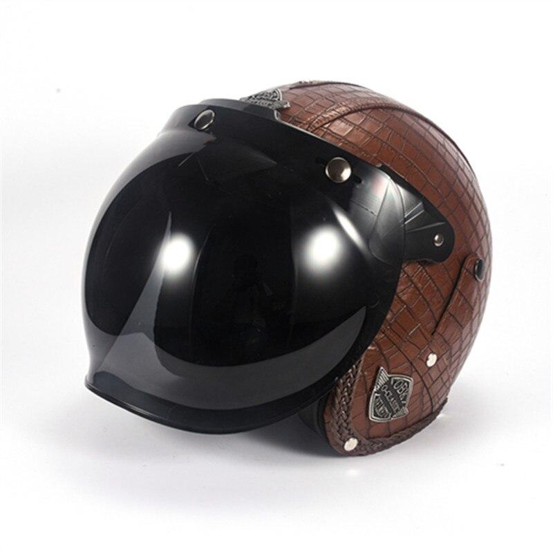 Rétro Moto casque Vintage bulle lentille meilleur route casque de vélo 2018 Moto casque DOT 3/4 Face ouverte casque pour Moto