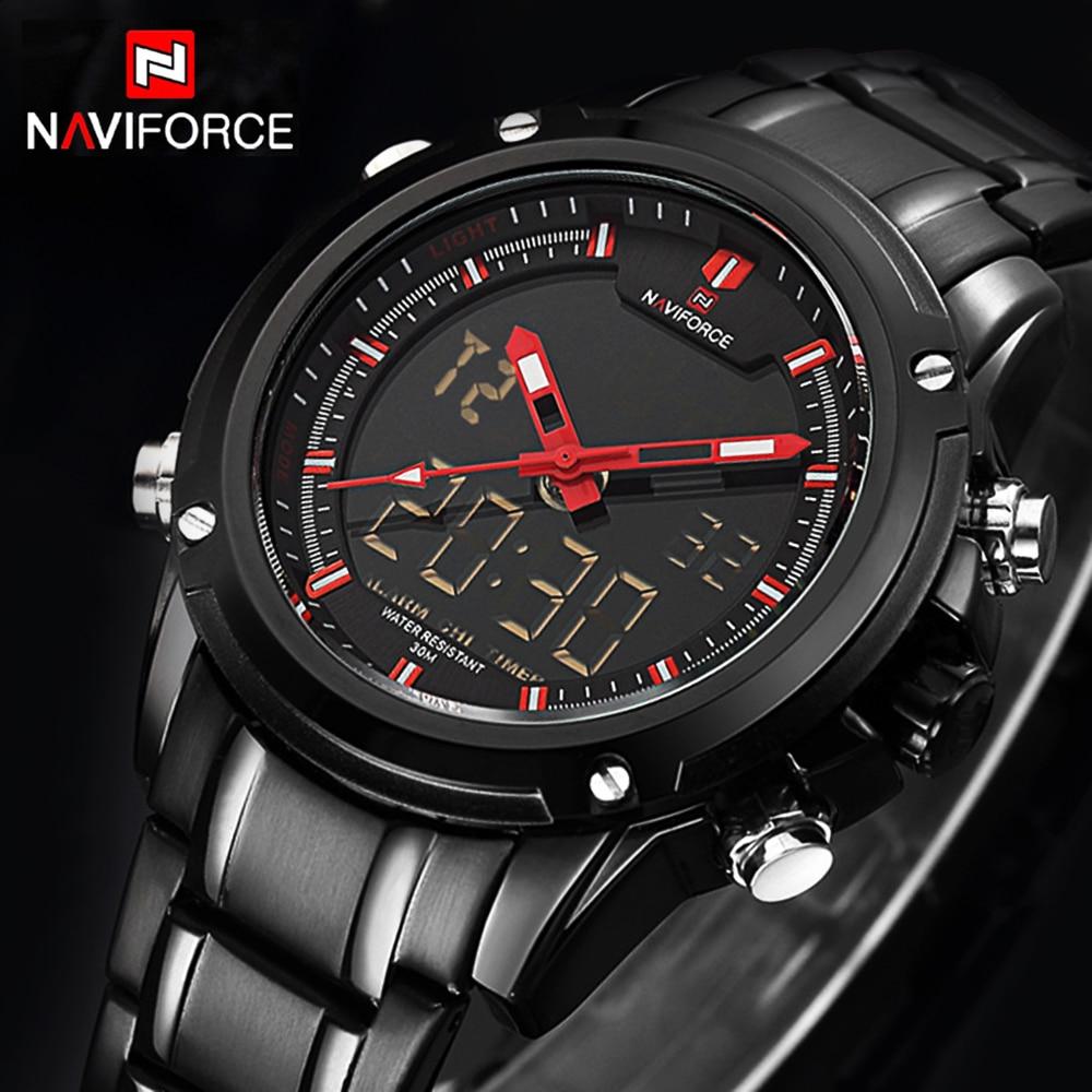 Top Luxury Brand NAVIFORCE Men Military Waterproof LED Sport