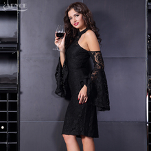 Adyce 2018 New Bodycon Runway Dress Women Celebrity Party Dress Vestidos Clubwear Flare Sleeve Black Halter Runway Lace Dresses