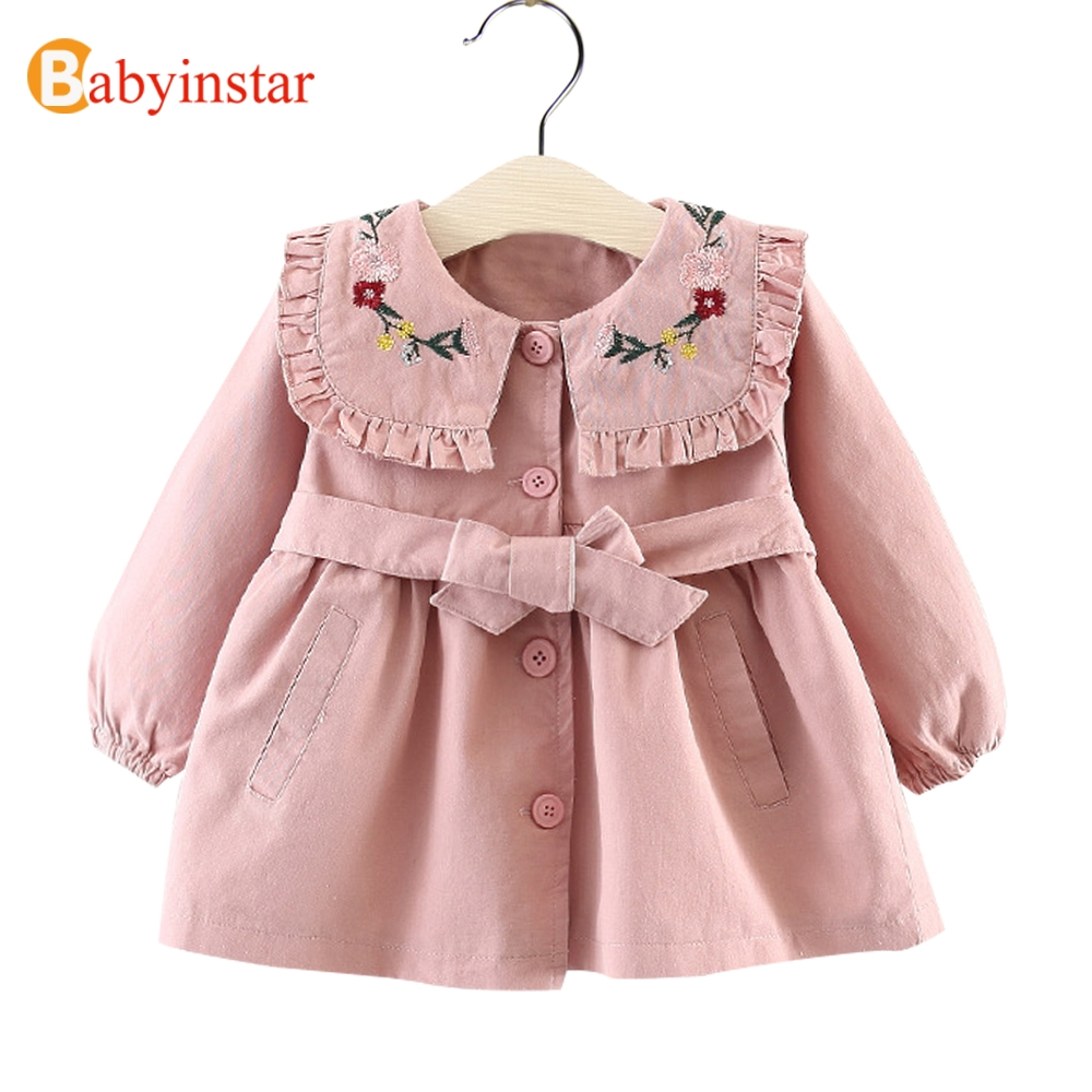 Babyinstar Girls Trench Floral Embroidery Children Kids Jackets Baby Girls Clothing Fashion Infant Toddler Childrens OutwearsBabyinstar Girls Trench Floral Embroidery Children Kids Jackets Baby Girls Clothing Fashion Infant Toddler Childrens Outwears