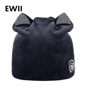 9285b516c96d4 Ladies knitted beanie hat women winter cap skullies beanies for women  rhinestone soft caps girl casual