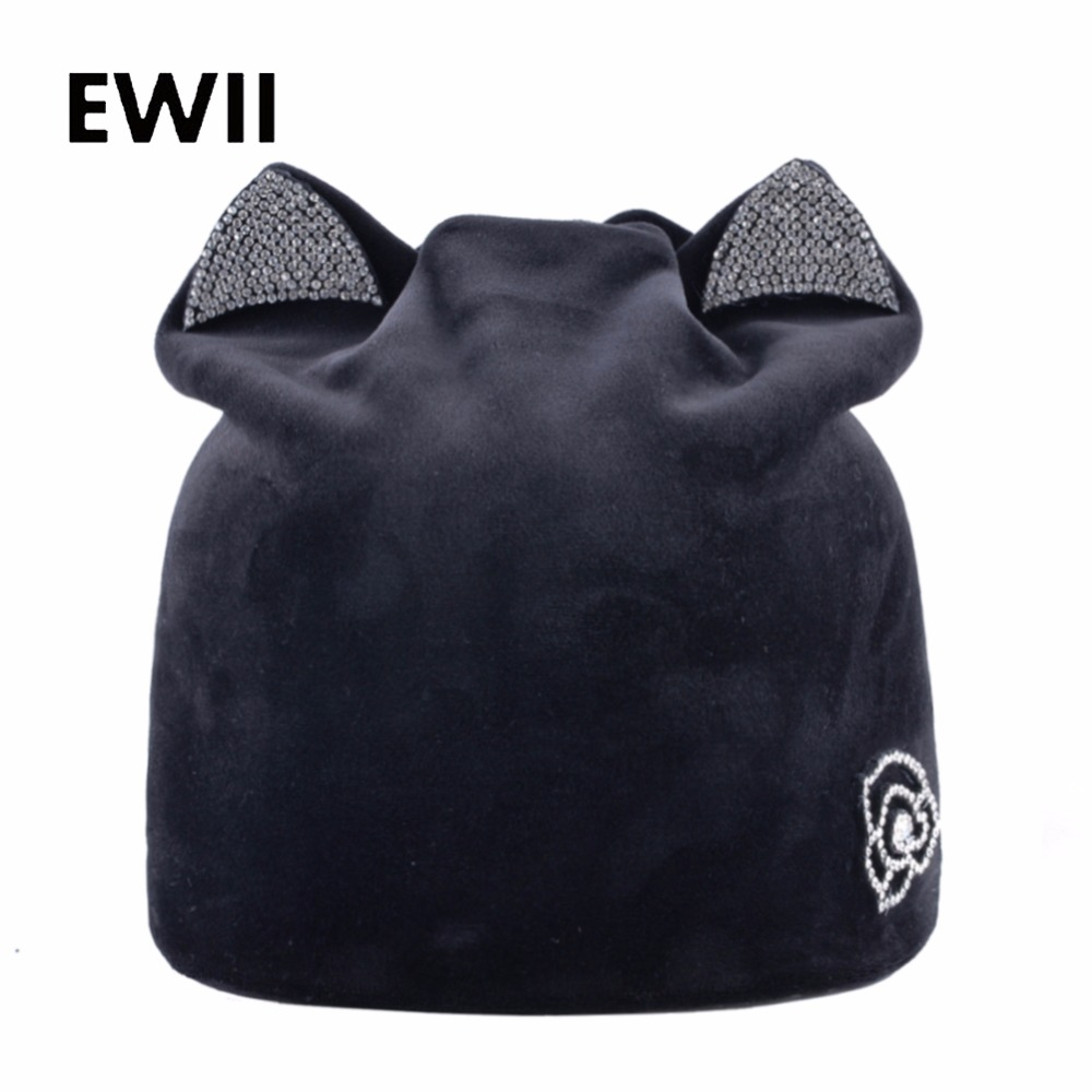 Ladies knitted   beanie   hat women winter cap   skullies     beanies   for women rhinestone soft caps girl casual velvet hats casquette