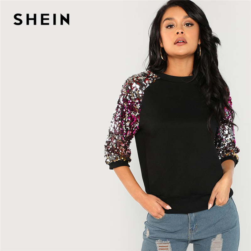 SHEIN Black Highstreet Sequin Colorblock 3/4 Length Raglan Sleeve Streetwear Sweatshirt 2018 Autumn Casual Women Sweatshirts