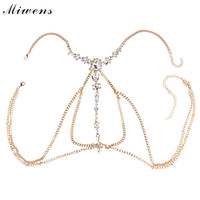 Miwens Women Exaggerated Beach Bikini Crystal Rhinestone Wedding Full Bra Belly Chain Necklace Chain Wholesale Jewelry