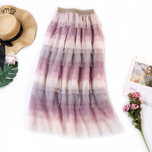 Wasteheart Autumn Women Fashion Pink Purple Skirts High Waist Ball Gown Pleated Ankle Length Skirt Mesh Clothing Gradient