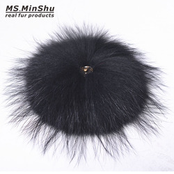 Ms.MinShu Genuine Raccoon Fur Pompom Big Fox Fur Ball for Beanies Natural Fur Pompom for Hat Fur Charm