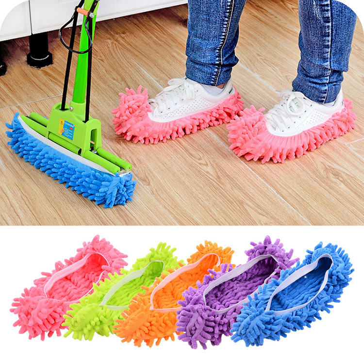 99a2501139f 2PCS Chenille Wipe Slippers Slippery Mopping Lazy Shoe Cover Removable Floor  Mop Rag