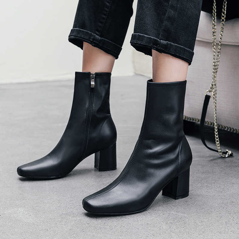 Isnom sapatos de salto alto botas femininas botas de couro de vaca tornozelo sapatos de dedo do pé quadrado moda feminina festa zip sapatos senhoras outono 2020 novo