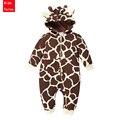 PPY-90, Marca otoño mamelucos del bebé lindo de la jirafa de lana forro bebé mono con capucha ropa de los bebés recién nacidos, niños outwear, 6-18 M