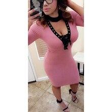 Для женщин Сексуальная повязки v-образным вырезом для вечеринки платье Кружево до вязаный Платья-свитеры Платье До Колена пуловер ws4618r
