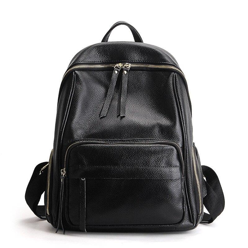 2019 Solid Color Korean Large Women Backpack Daily Genuine Leather Bagpack Female School Bag for Teenage