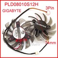 Free Shipping 2pcs/lot POWER LOGIC PLD08010S12H 3Pin 74mm DC12V 0.25A 40*40*40mm For GIGABYTE Graphics Card Cooler Cooling Fan
