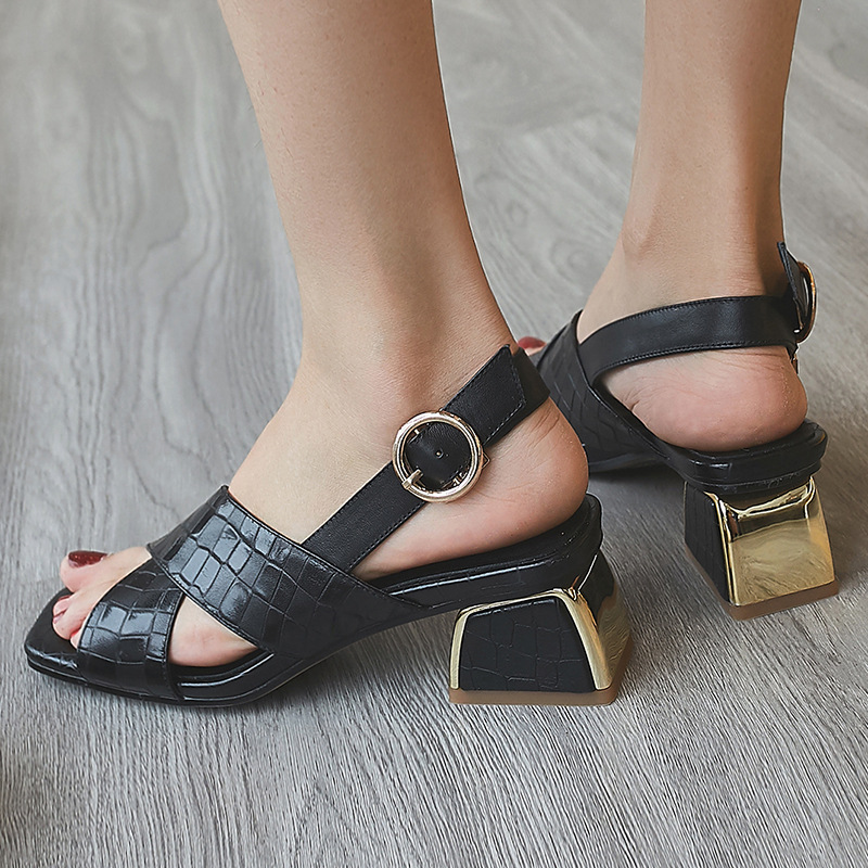 2019 PU Leather Black Woman Shoes in Ankle Buckle Mixed Color Summer Sandals High Heel Retro Style Ladies Shoe