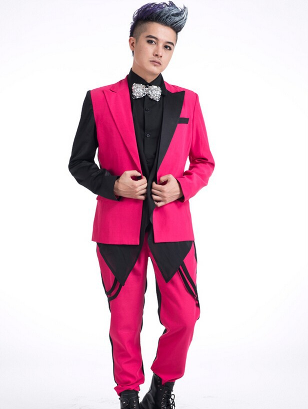 Новый стиль моды розовый мужской костюм комплект верхняя одежда певица танцы пальто мужские порошок краситель матч тонкий джентльмен курт