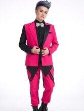 Новый стиль моды розовый мужской костюм комплект верхняя одежда певица танцы пальто мужские порошок краситель матч тонкий джентльмен куртка брюки
