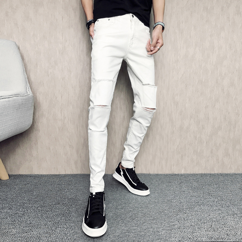White Ripped men's Jeans 2