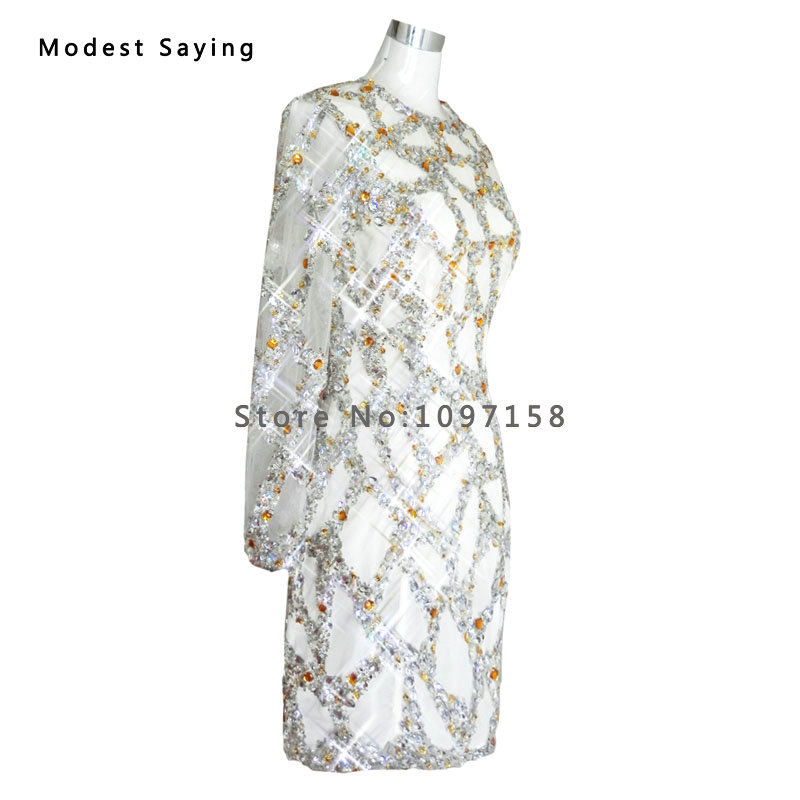 Cocktail Dresses Real Silver Luxury Straight Beaded Short Cocktail Dresses 2017 Mini Women Long Sleeves Party Prom Gowns Robe Sur Mesure Yc24