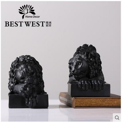Creative Resin Vintage Lion Head Statue Home Decor Crafts Room Decoration  Objects Study Room Office Figurine