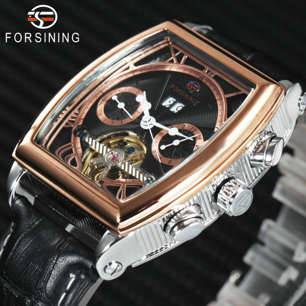27c83212a7d FORSINING Tourbillon Homens Mecânicos do Relógio Calendário Pulseira de  Couro Rosa de Ouro Mens Relógios Top