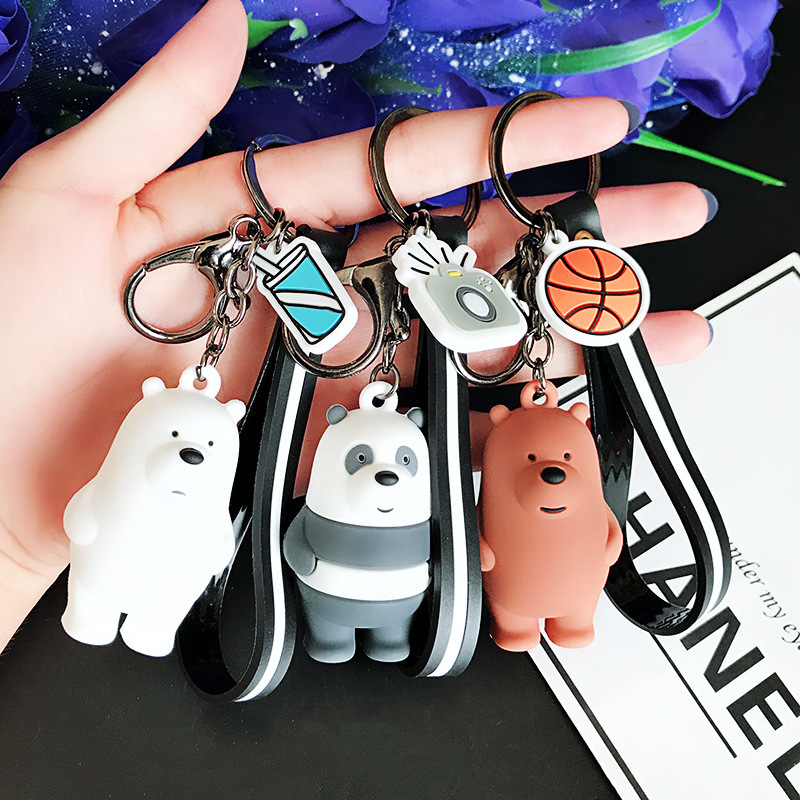We Bare Bears Keychain Cartoon Anime Pendants Key chains For Women Kids Unlucky bear Series Trinkets For Car Key Car ornaments-in Key Rings from Automobiles & Motorcycles