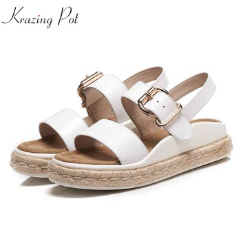 Krazing pot genuine leather metal buckle punk mature handmade straw med heels pregnant thick bottom vacation woman sandals L51