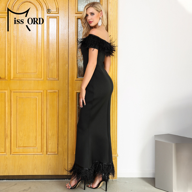 Missord 2019 Women Sexy Slash Neck Off Shoulder Feathers Dresses Female Elegant Maxi Party  Dress FT19501-1 2