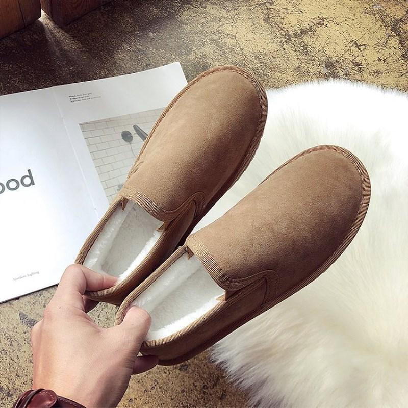 Eoeodoit Winter Loafers Platform Flat Heel Round Toe Double Cotton Plush Snow Shoes Slip Resistance Sole Casual Flats For Women