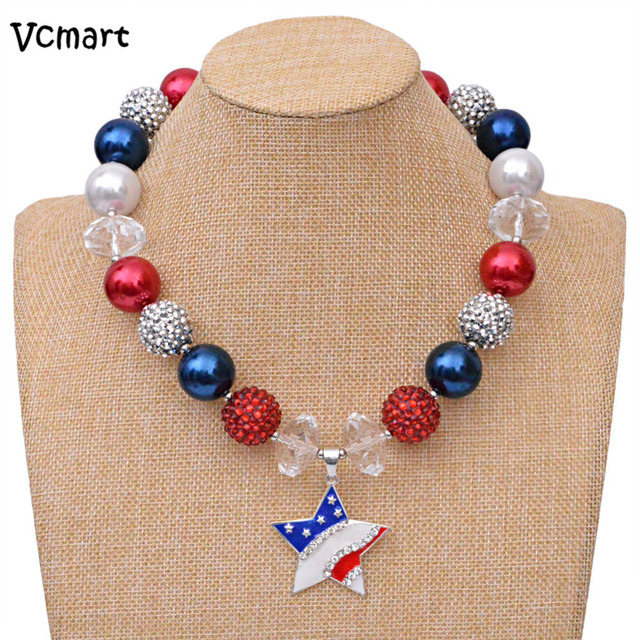 1pcs fourth of july bubble gum beaded chunky necklaces blue star 1pcs fourth of july bubble gum beaded chunky necklaces blue star pendant kids girls bubblegum beads aloadofball Gallery