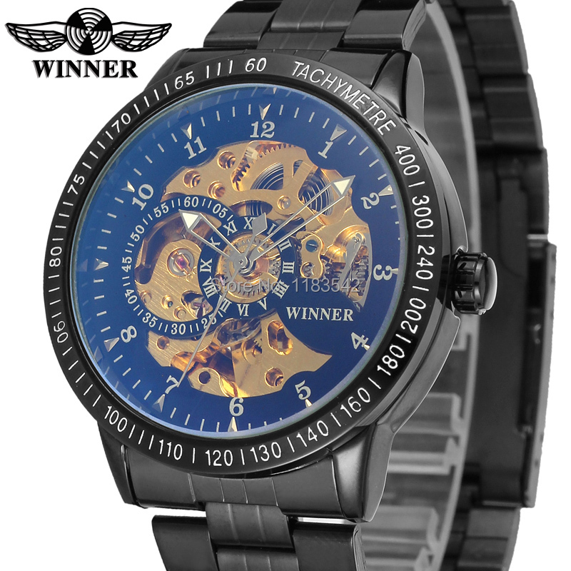 Winner Men's Watch New Business   Automatic Self-wind Movement Stainless Steel Band Wrist watch Color Black WRG8031M4B3 stylish 8 led blue light digit stainless steel bracelet wrist watch black 1 cr2016