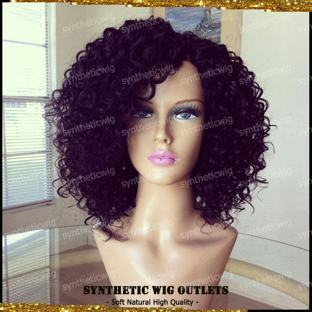 African American Short Curly Wigs Cheap Synthetic Wigs For Black Women  Rihanna Style Synthetic Hair Curly Bob Wigs With Bangs 83365c8833