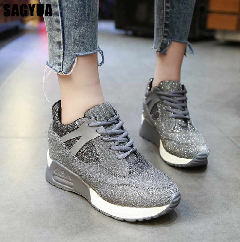 New Casual shoes For woman Breathable Platform Wedge Sneakers Ladies lace up Comfort Outdoor Air cushion Heightening shoes A246