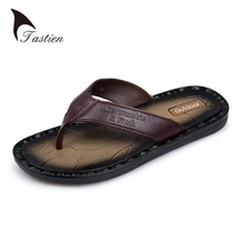 TASTIEN Brand Leather Men Flip Flops Summer Sandals Men's Male Brand Designer Slippers For Seaside Beach Casual Walking Sildes