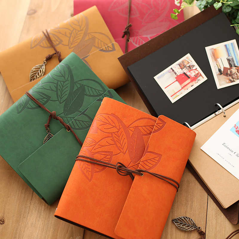 8 Inch PU Leather Vintage Antique Kraft Paper Photo Albums 30 Sheets for Baby Birthday Gifts Leaves Home Decor Young Commemorate