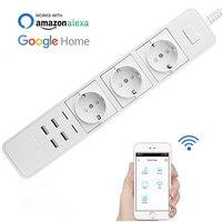 OPC723 10A EU wifi Remote Control Power Socket Strip 3 Sockets 4 USB port single plug Support Alexa Google Assistant