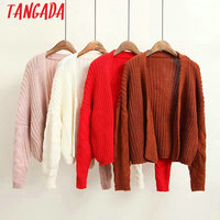 Tangada Women Cardigan Long Sleeve Korean Fashion 2017 Autumn Ladies Female Red Pink Casual School Style Knitted Tops TB03
