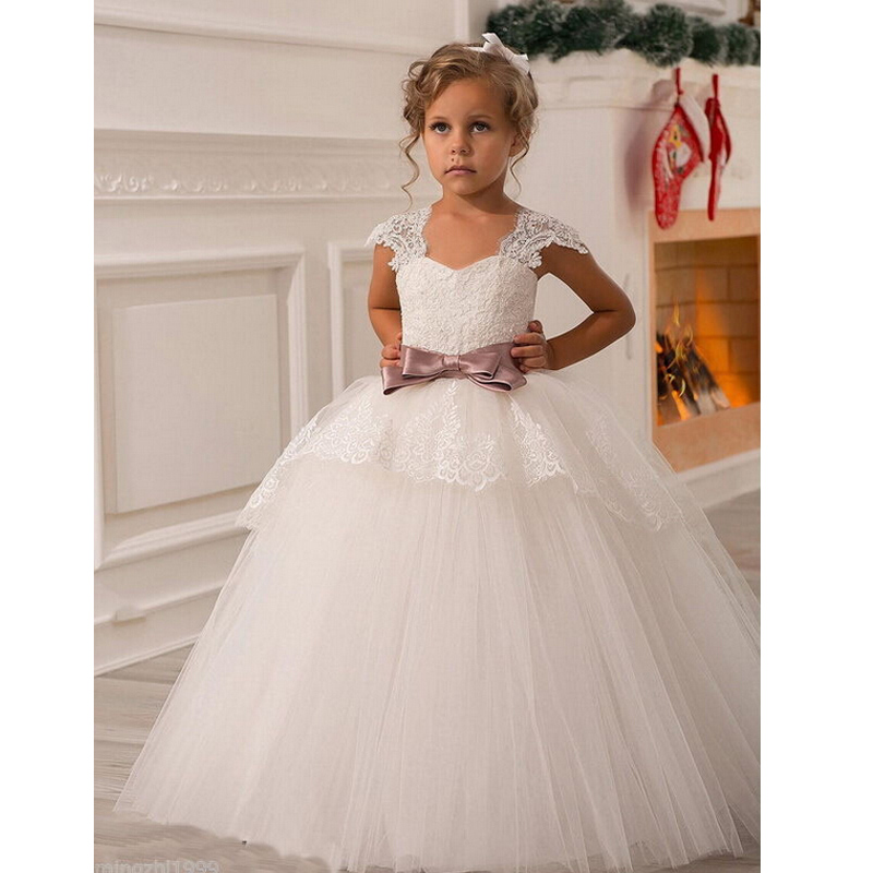 Aliexpress.com : Buy 2017 Flower Girl Dresses with Sashes Cap ...