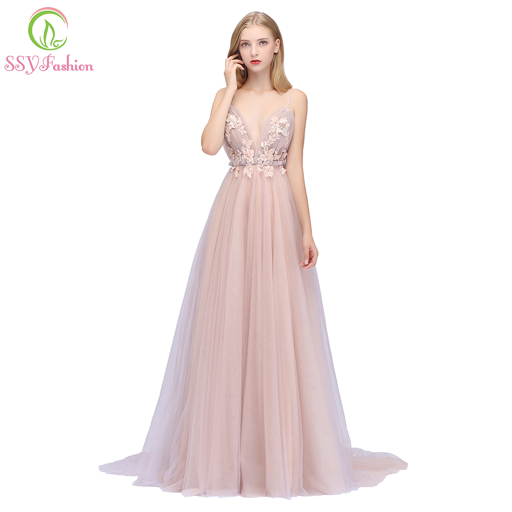 SSYFashion New Sexy Pink Evening Dress V-neck Sleeveless Flower Appliques Sweep Train Backless Prom Party Gowns Robe De Soiree
