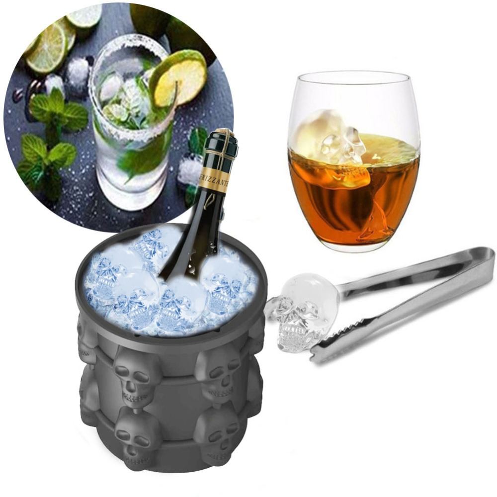 Ice Cube Maker Genie The Revolutionary Space Saving Ice Cube Maker Silicone ice bucket/Skull ice bucket Champagne Dropshipping