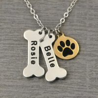 Personalized Dog Necklace,Bones and Dog Paw Print Collar,Custom Bone Charm