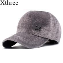 xthree winter baseball cap faux mink fur cap hat Casual cap gorras 5 panel dad hat