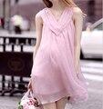 Maternidade desgaste do verão sem mangas chiffon vestidos de maternidade roupas para mulheres grávidas vestidos de maternidade das mulheres-dress nova