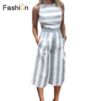 2018 Striped Jumpsuit Rompers For Women Overalls Ladies Loose Calf Length Wide Pants For Woman Jumpsuits