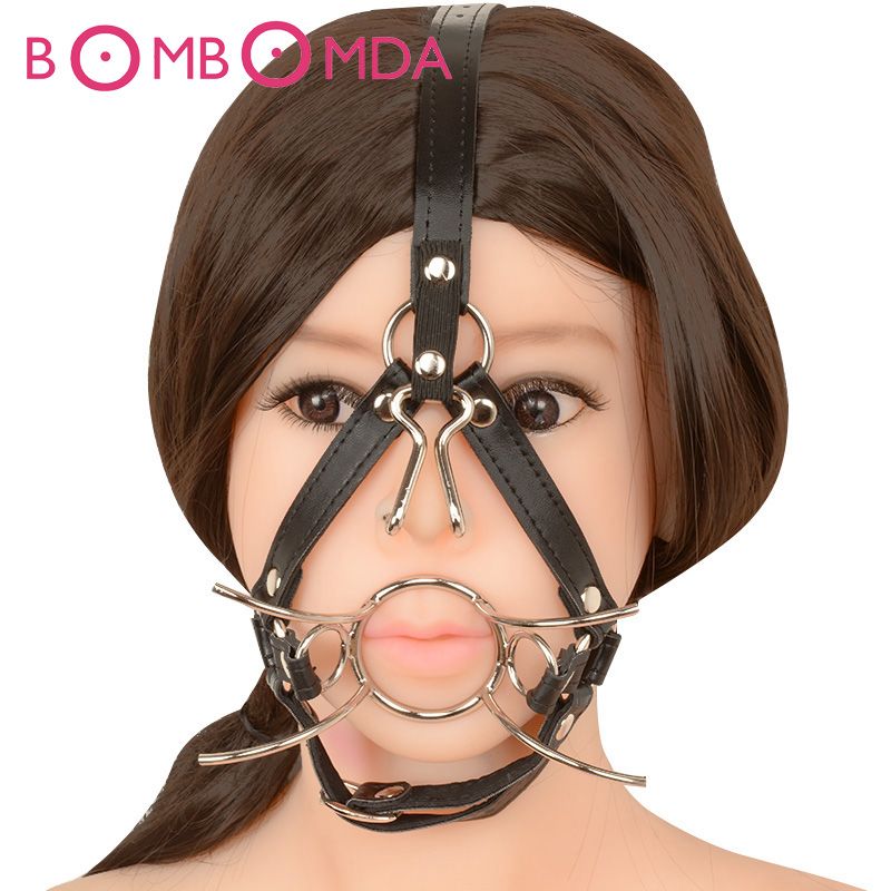 Adult Game Metal Ring Open Mouth Gag Ball Gag With Nose Hook Tools Sex Slave Mouth Plug Full Head Harness Sex toys for couple