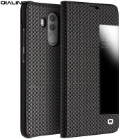 QIALINO Smart Cover For Huawei Mate 10 Pro Case Grid Texture View Window Genuine Leather Stand
