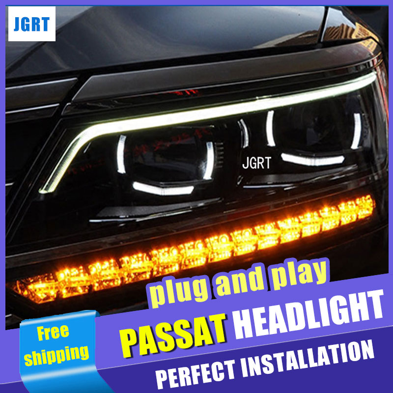 Car Styling Headlight assembly 11-17 for Passta-b8 DoubleU Angel Eye LED DRL Lens Double Beam H7 H7 hid kit with 2pcs.