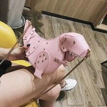 Rivet Personality Dinosaur Design Fashion Leather Crossbody Mini Messenger Bag Women Chain Purse Female Shoulder Bag Gift цена